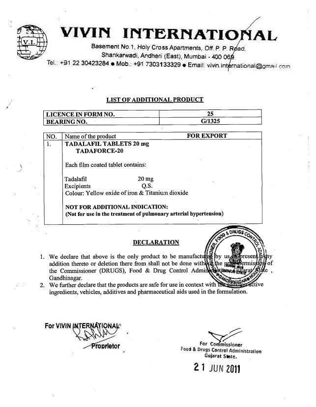 Тадалафил сертификат